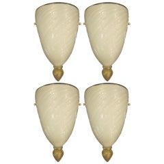 Four Italian Mid-Century Modern Venetian /Murano Glass Sconces, Attr. Barovier