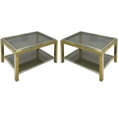 Pair of French Double Level End Tables by Willy Rizzo for Maison Charles