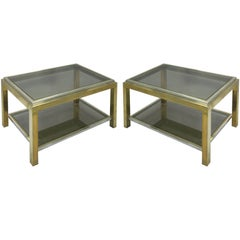 Pair French Double Level Brass & Nickel End Table, Willy Rizzo & Maison Charles
