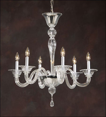 Pair of elegant, sober Italian Mid-Century style clear Murano glass chandeliers attributed to Venini. Pure and clean pieces in the modern neoclassical spirit. 