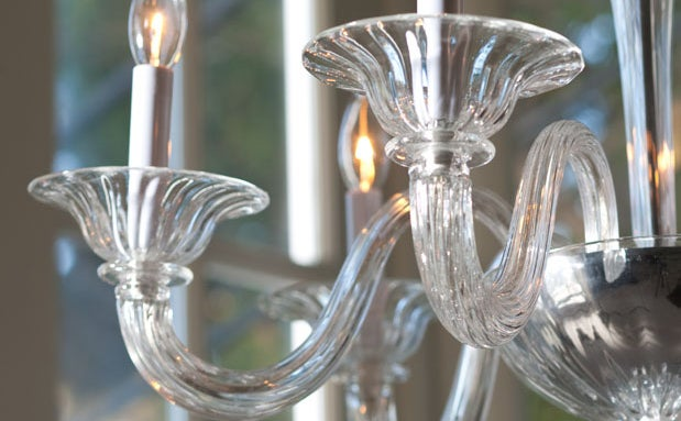 Two Clear Murano Glass Chandeliers Attributed to Venini For Sale 1