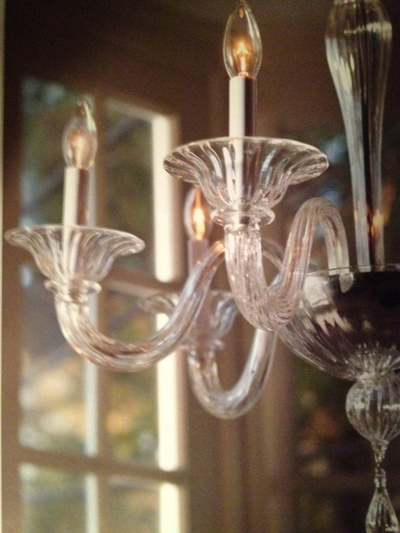 20th Century Two Clear Murano Glass Chandeliers Attributed to Venini For Sale