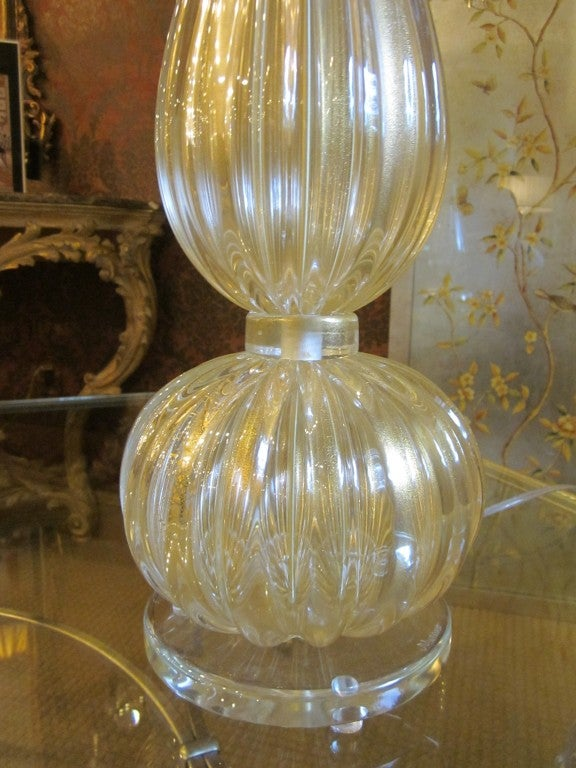 Italian Pair Large Hand-blown Murano / Venetian Glass Table Lamps attributed to Barovier For Sale