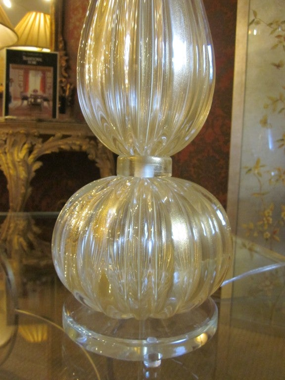 Pair Large Hand-blown Murano / Venetian Glass Table Lamps attributed to Barovier In Excellent Condition For Sale In New York, NY