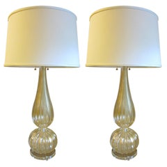 Pair Large Hand-blown Murano / Venetian Glass Table Lamps attributed to Barovier