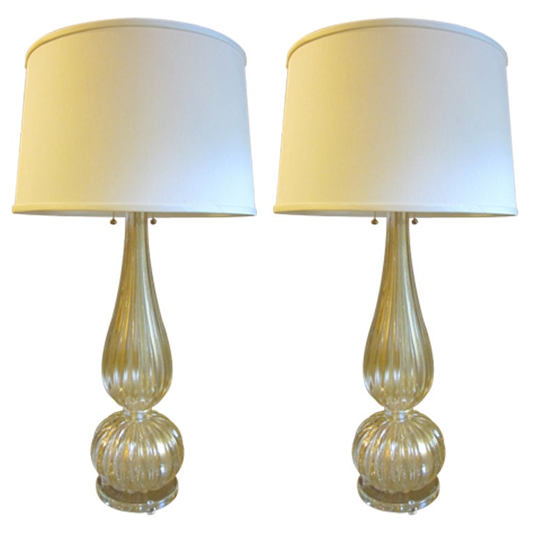 Pair Large Hand-blown Murano / Venetian Glass Table Lamps attributed to Barovier For Sale