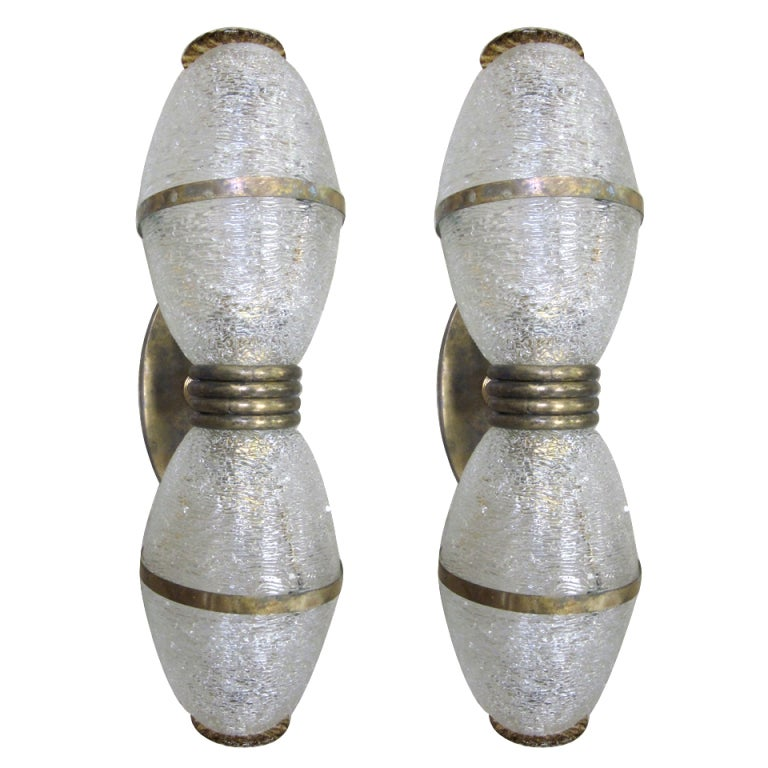 Pair of Large Mid-Century Modern Murano / Venetian Blown Glass Wall Sconces