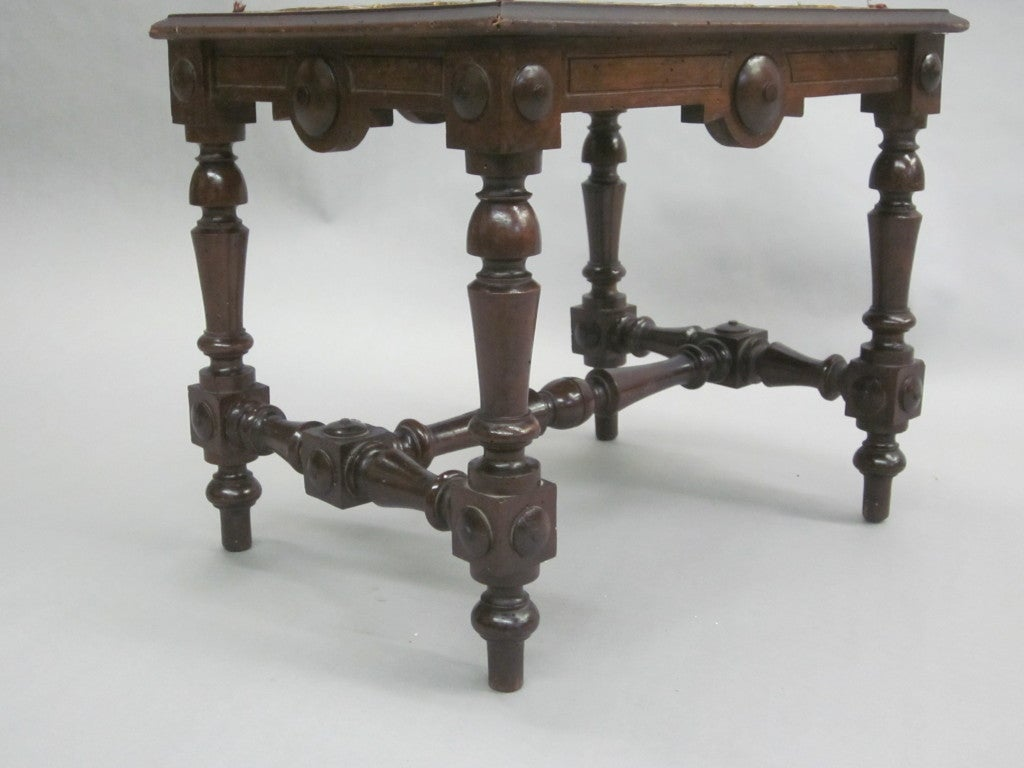 A captivating pair of Italian hand-carved stools or benches. Top (unshown) was leather but can be re-designed to suit taste.