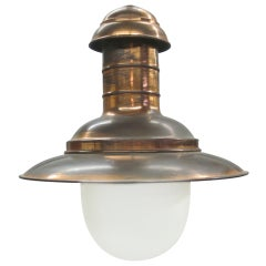 French Mid-Century Modern Copper Marine Industrial Flush Mount or Pendant, 1930