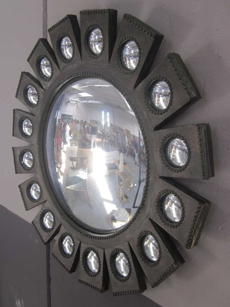 Iron Exquisite French Mid-Century Modern 'Sunburst' Mirror in Style of Line Vautrin For Sale