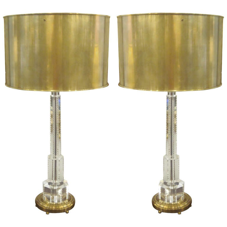 Pair of French Mid-Century Modern Style Solid Crystal and Brass Table Lamps For Sale