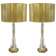 Pair of Solid Crystal and Brass Table Lamps
