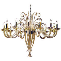 Poetic Large Twelve-Arm Gold Murano Glass Chandelier