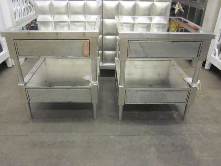 Pair of Silver Leaf and Mirrored Nightstands / End Tables at 1stdibs