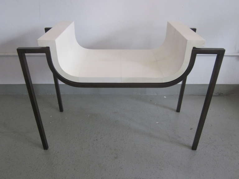 Two Parchment Benches in the Style of Marc Duplantier In Excellent Condition For Sale In New York, NY
