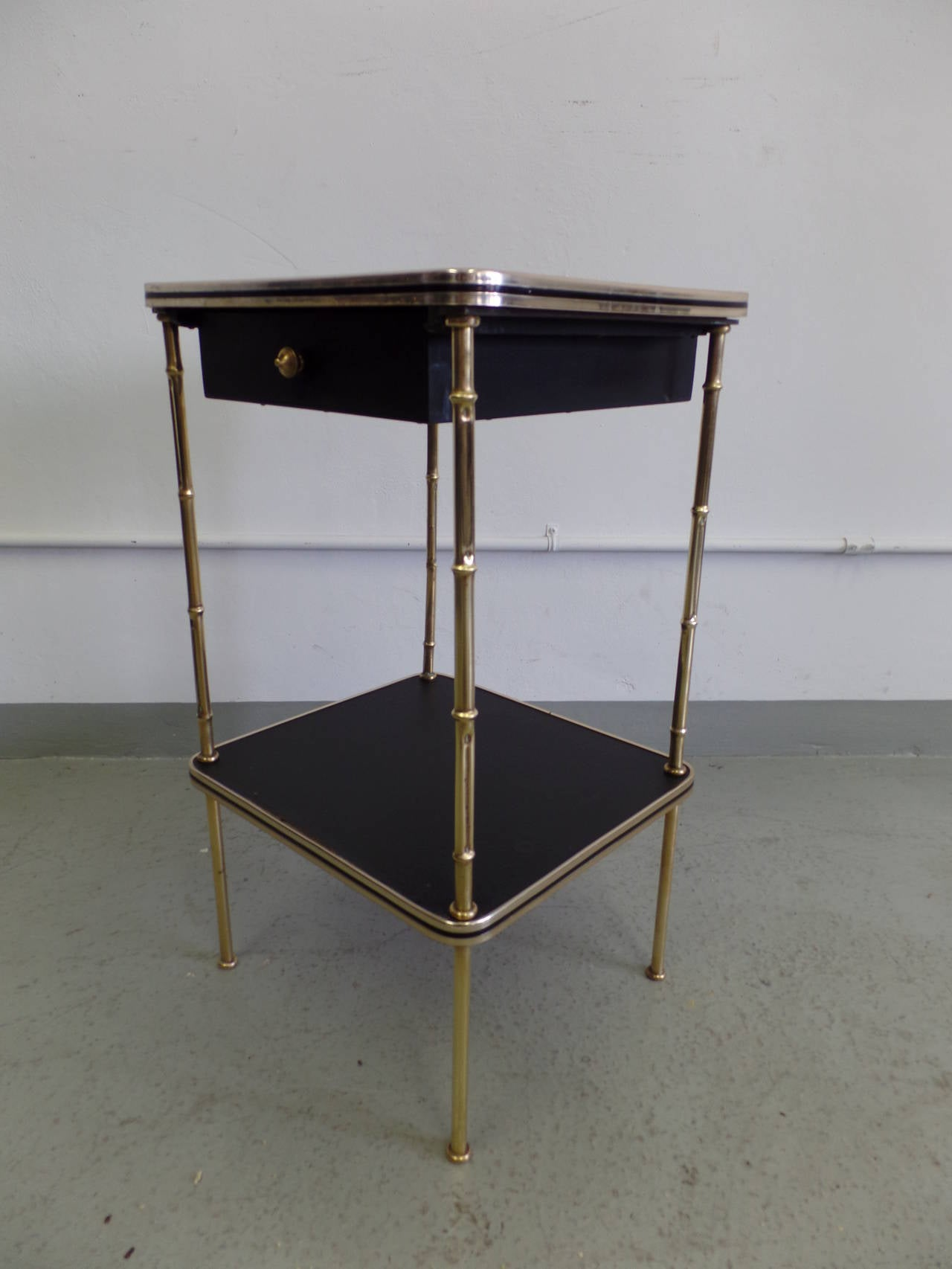 Pair French Faux Bamboo and Leather Side Tables / Nightstands by Jacques Adnet 4