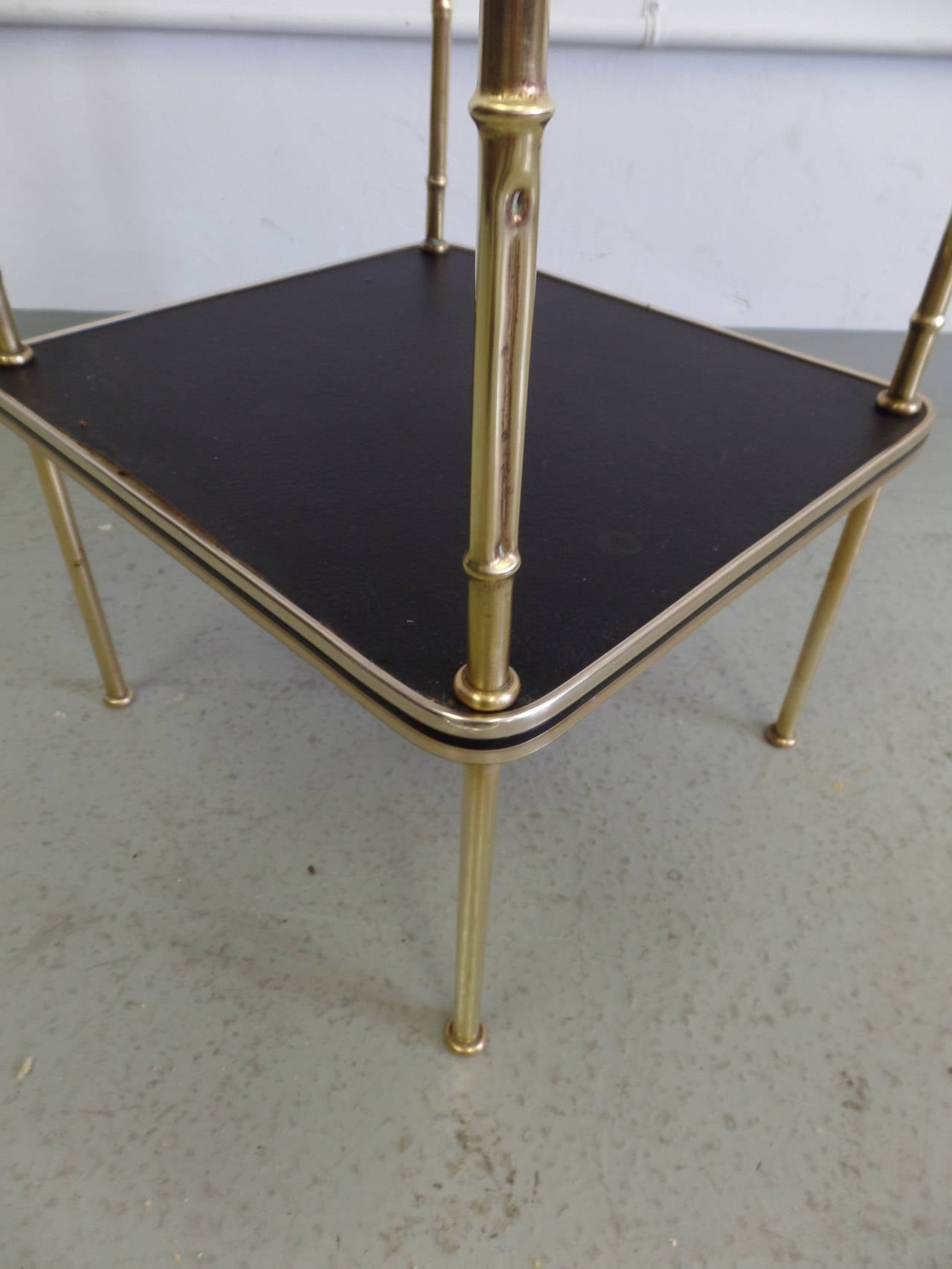 Pair French Faux Bamboo and Leather Side Tables / Nightstands by Jacques Adnet 8