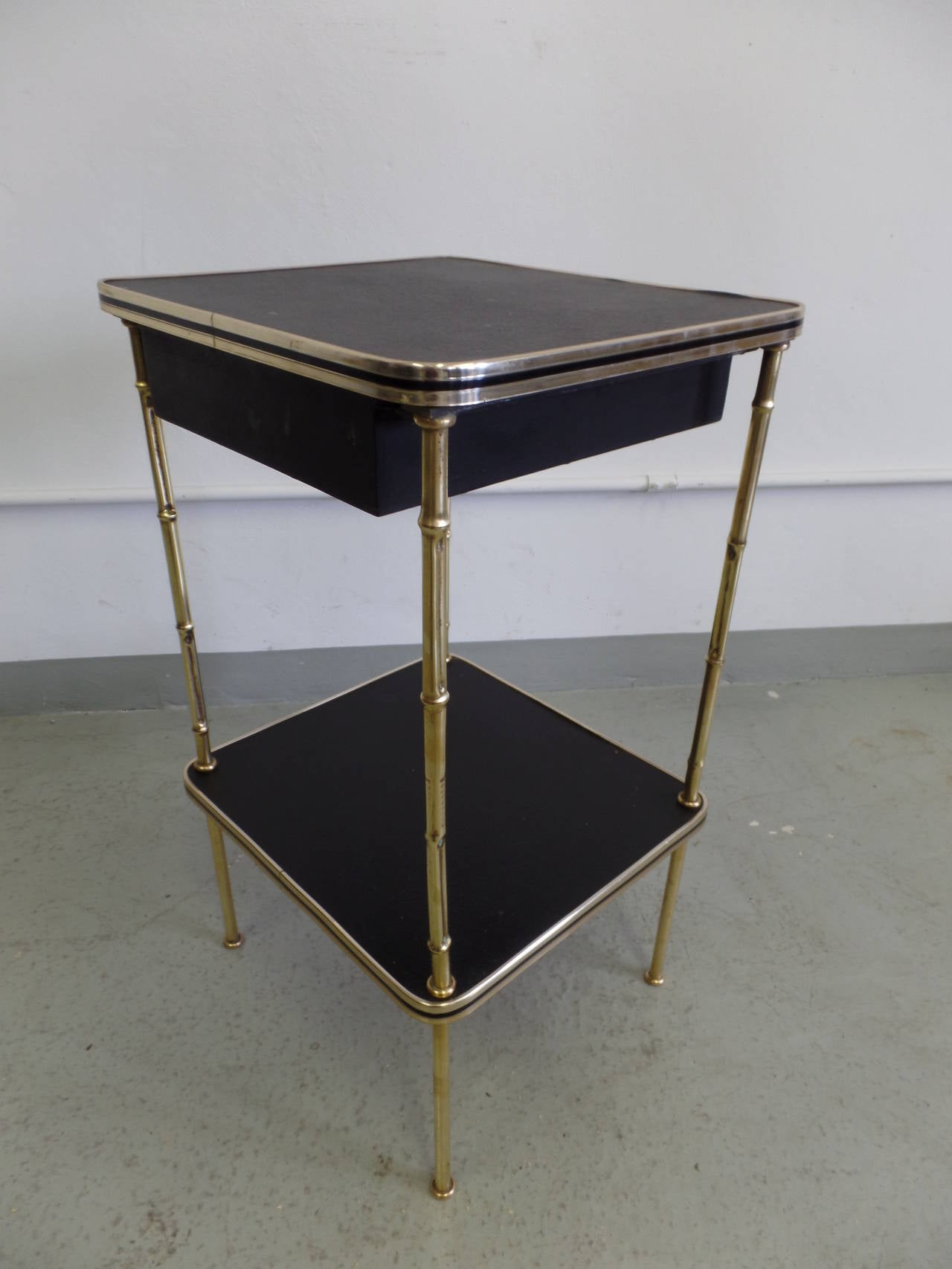 Pair French Faux Bamboo and Leather Side Tables / Nightstands by Jacques Adnet 5