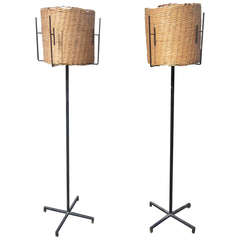 Pair of French Mid-Century Modern Floor Lamps by Disderot