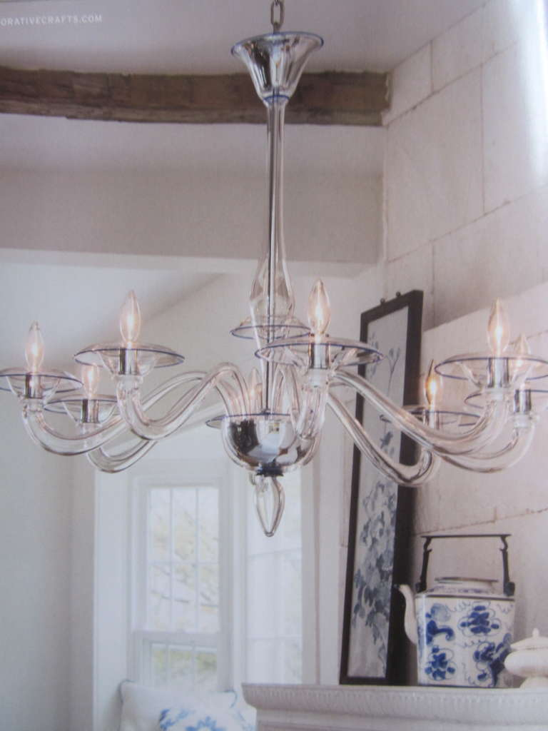 Mid-Century Modern Two Clear Italian Mid-Century Style Hand Blown Murano /Venetian Glass Chandelier For Sale