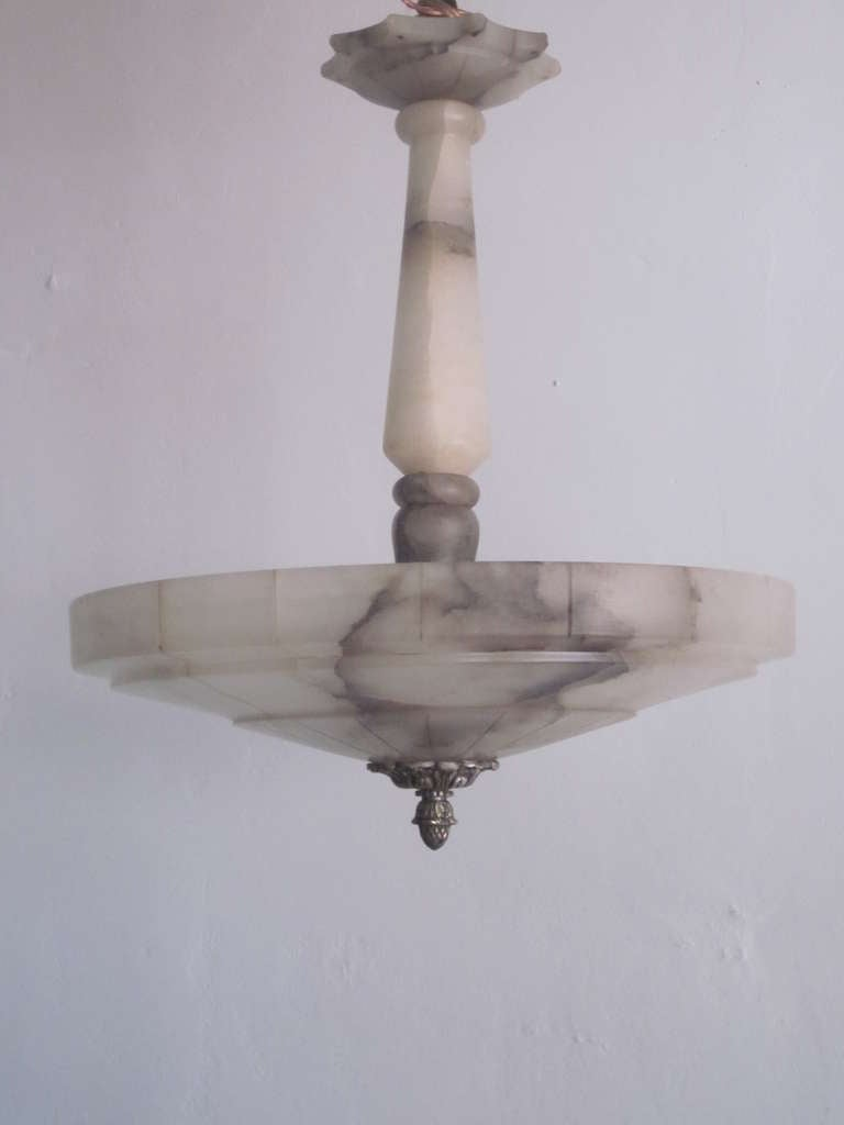 Elegant Italian Alabaster Mid-Century Modern neoclassical pendant or chandelier in a Classic, pure form that references the Italian 'Novecento' and Art Deco periods. This fixture could flush mount, if desired. Three lights are inside the fixture.