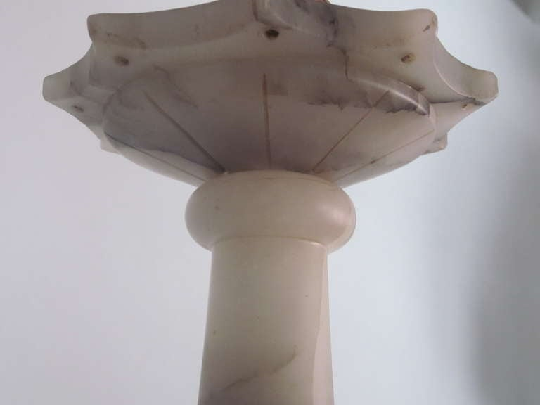 Italian Mid-Century Modern Neoclassical Alabaster Pendant or Chandelier For Sale 4