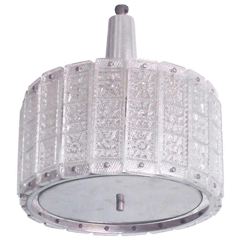 Austrian Mid-Century Modern Glass Pendant /Flush Mount Attributed to J.T. Kalmar