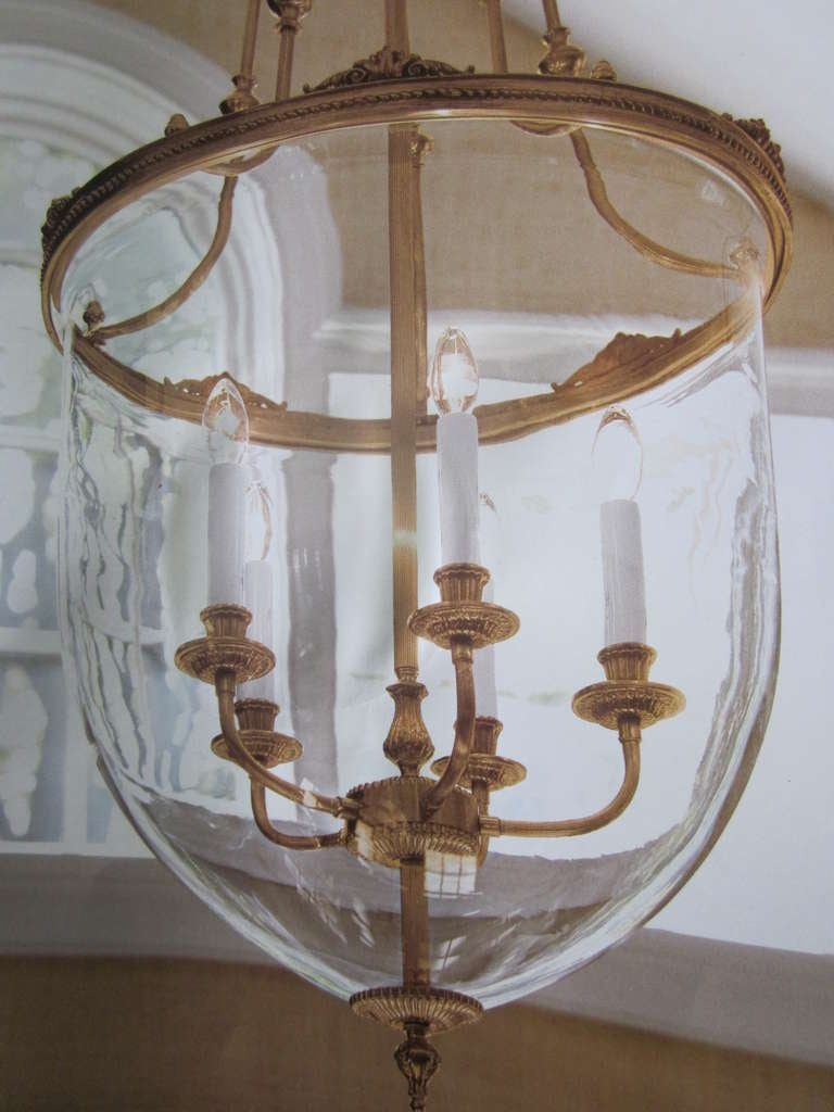 Two French Modern Neoclassical Style Brass and Blown Glass Chandeliers/ Lanterns In Excellent Condition For Sale In New York, NY