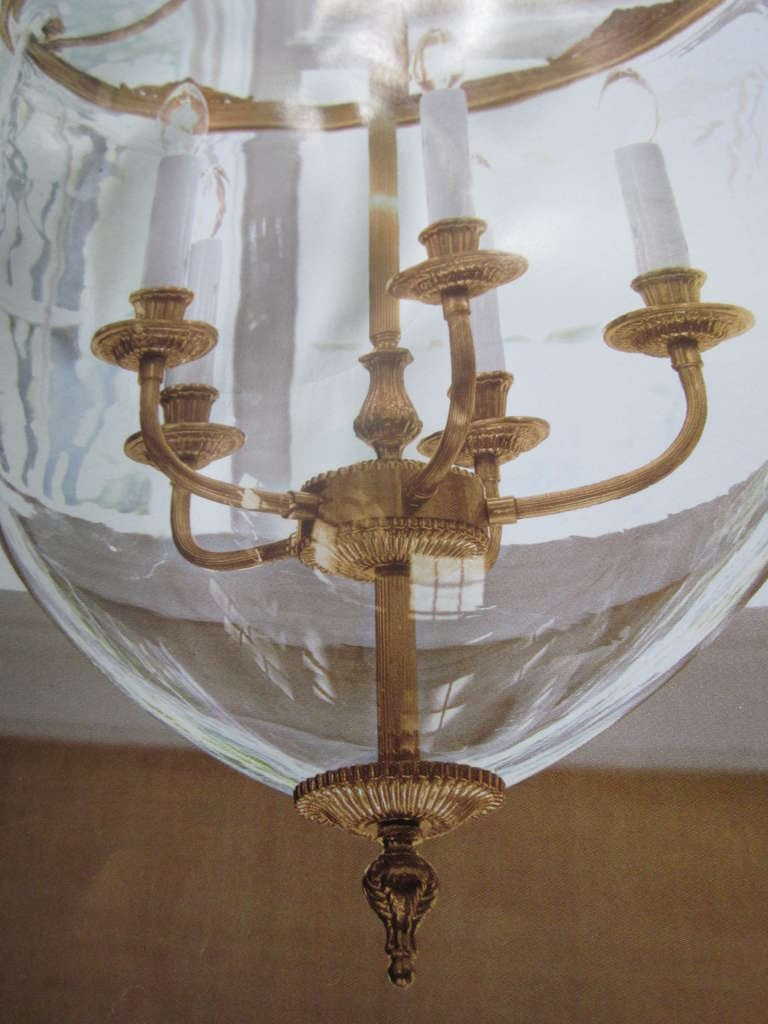 18th Century and Earlier Two French Modern Neoclassical Style Brass and Blown Glass Chandeliers/ Lanterns For Sale
