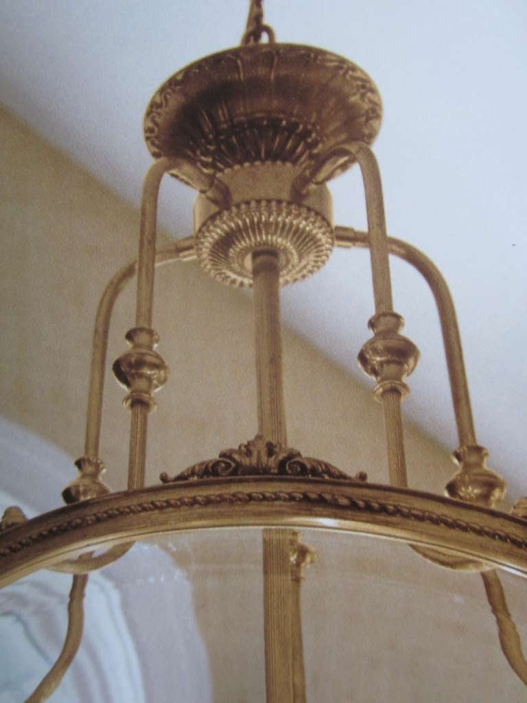 Two French Modern Neoclassical Style Brass and Blown Glass Chandeliers/ Lanterns For Sale 2