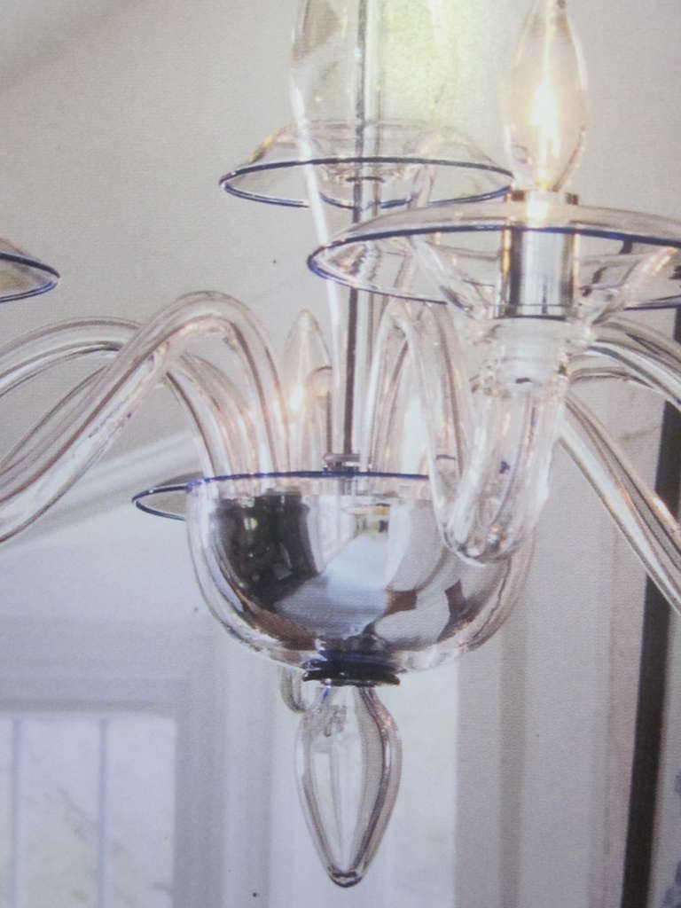 20th Century Two Clear Italian Mid-Century Style Hand Blown Murano /Venetian Glass Chandelier For Sale