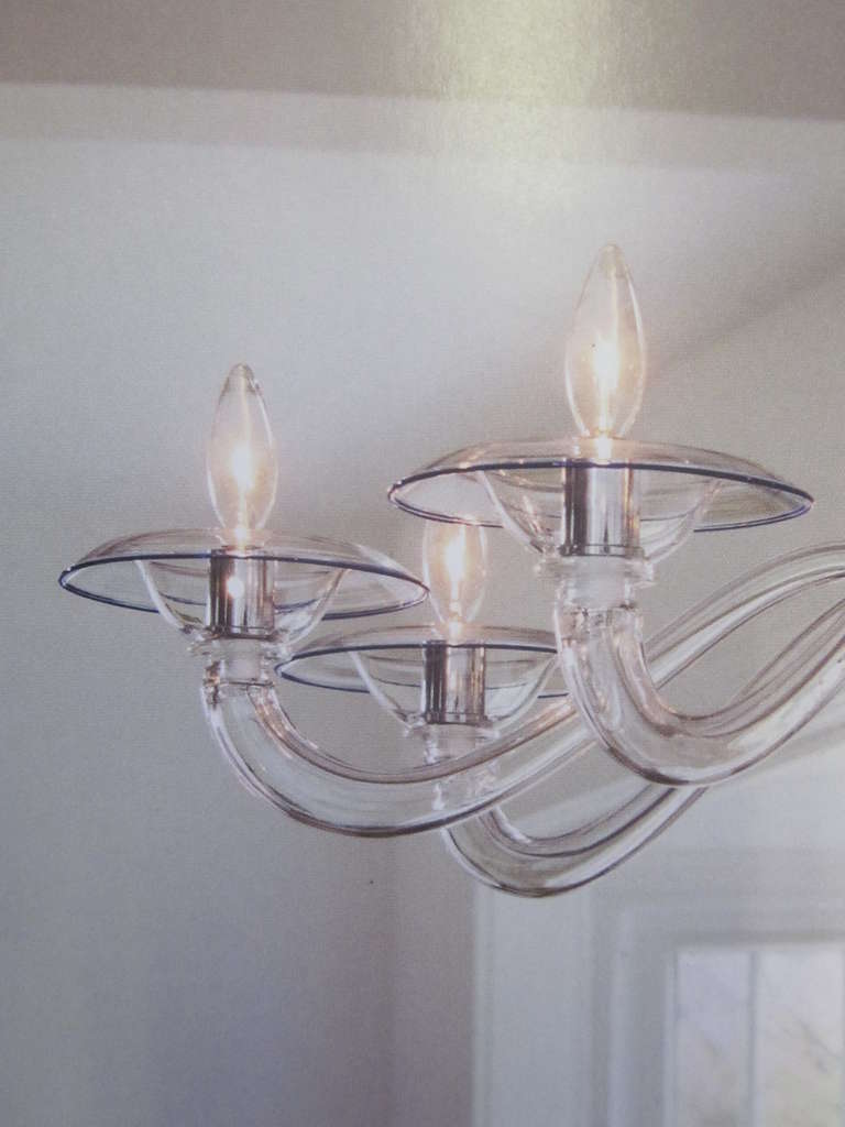 Two Clear Italian Mid-Century Style Hand Blown Murano /Venetian Glass Chandelier For Sale 1