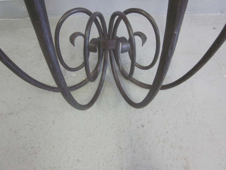 French Art Deco Hand Hammered iron and Marble Wall Console by Edgar Brandt For Sale 1