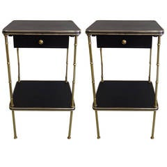 Pair French Faux Bamboo and Leather Side Tables / Nightstands by Jacques Adnet
