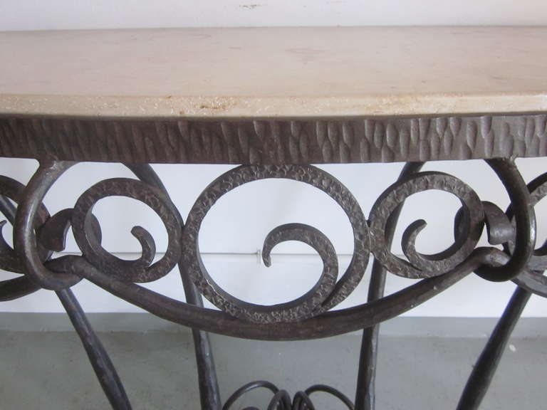 Wrought Iron French Art Deco Hand Hammered iron and Marble Wall Console by Edgar Brandt For Sale
