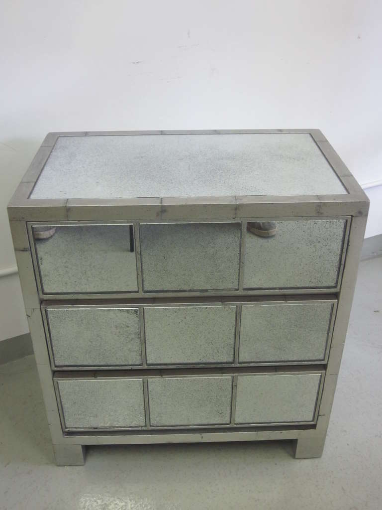 2 Silver Leaf Style Mirror Nightstands or Commodes in Style Jean-Michel Frank 2