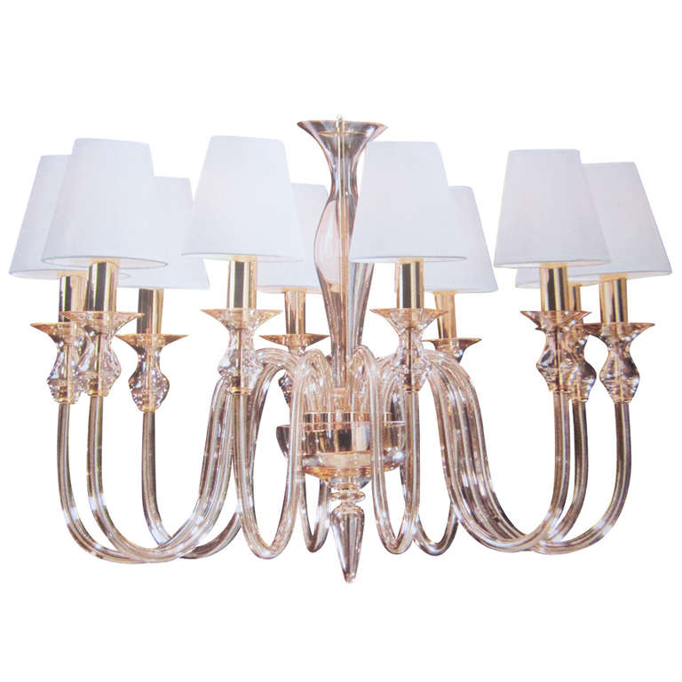 Two Ten-Arm Murano Glass, Modern Neoclassical Chandelier
