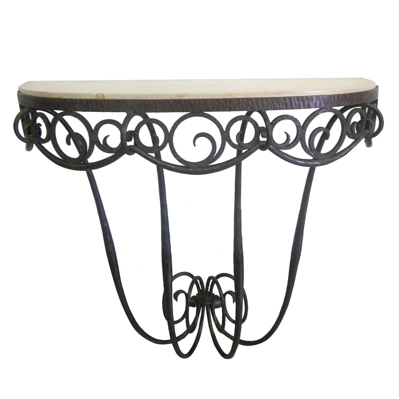French Art Deco Hand Hammered iron and Marble Wall Console by Edgar Brandt