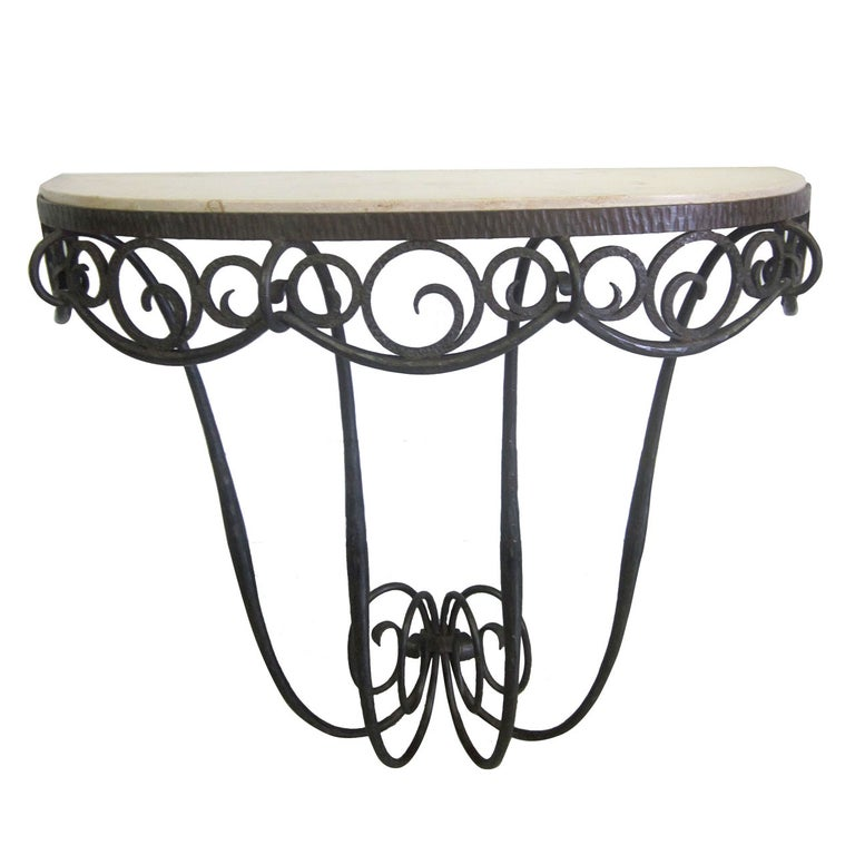 French Art Deco Hand Hammered iron and Marble Wall Console by Edgar Brandt For Sale