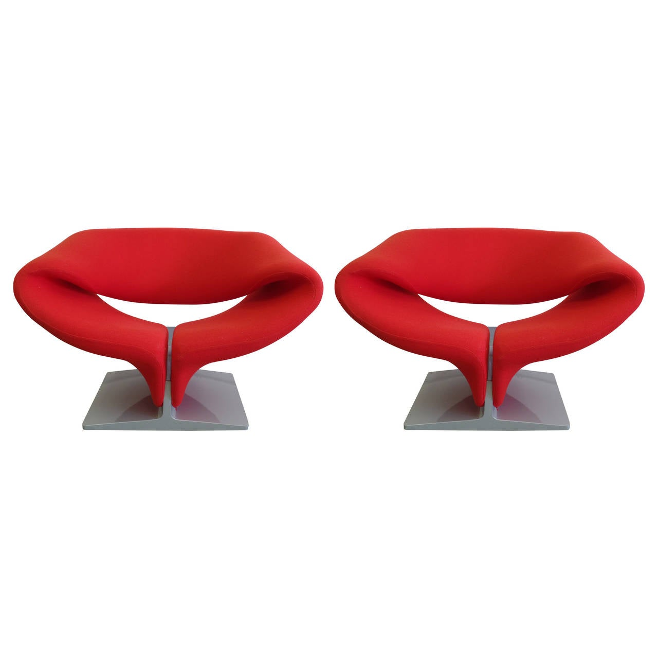 Pair Of French Ribbon Chairs By Pierre Paulin For Artifort At 1stdibs