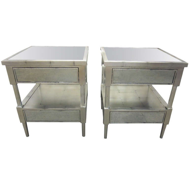 Pair Of Silver Leaf And Mirrored Nightstands End Tables At 1stdibs