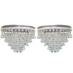 Two Italian Flush Mount Fixtures / Chandeliers with Murano Glass Drops