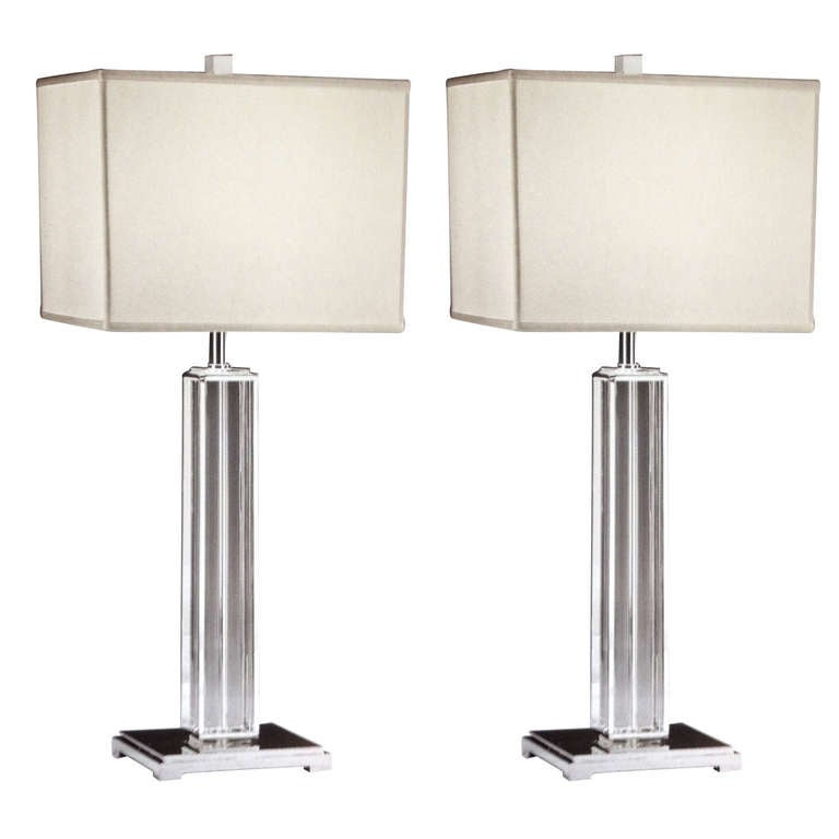 Crystal Chandelier Table Lamps For Sale: Pair Of Silver And Solid Crystal Columnar Table Lamps For
