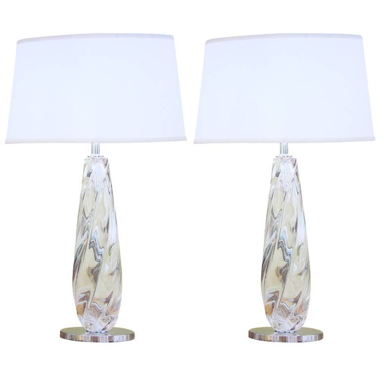 2 Pairs of Italian Mid-Century Style Clear Murano / Venetian Glass Table Lamps