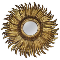 French Mid-Century Modern Neoclassical Hand-Carved Gilt Wood Sunburst Mirror