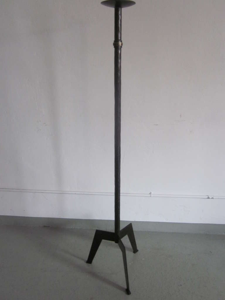 Pair Of French 1940s Style Wrought Iron Standing Lamps