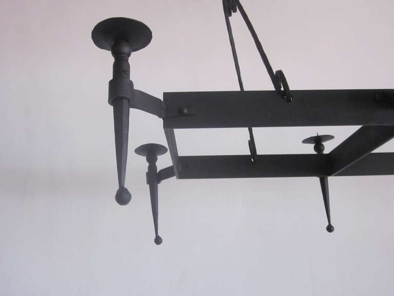 Very Large French 1940s Wrought Iron Chandelier 7