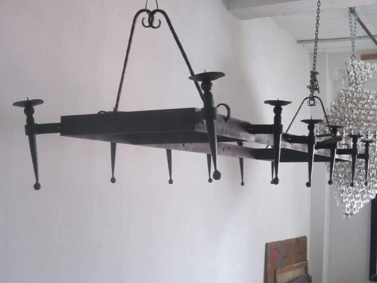 Very Large French 1940s Wrought Iron Chandelier 5