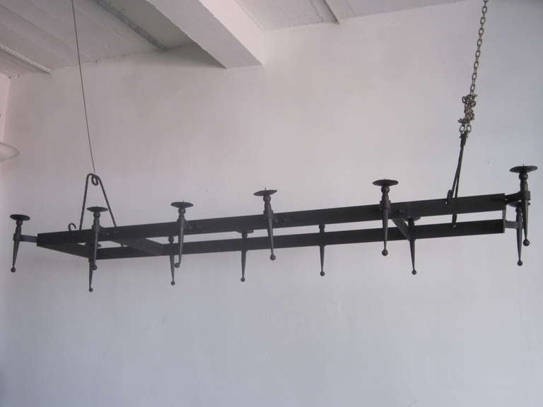 Very Large French 1940s Wrought Iron Chandelier 4