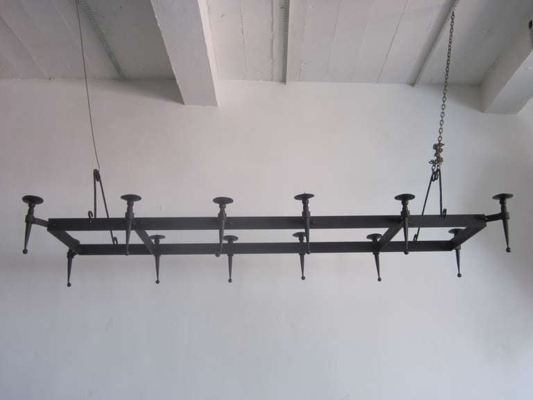 Very Large French 1940s Wrought Iron Chandelier 2